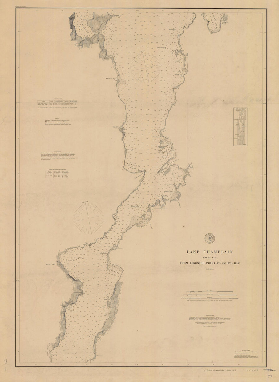 Lake Champlain - Ligonier to Coles Bay Map - 1879