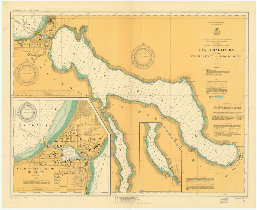 Lake Charlevoix Map - 1927