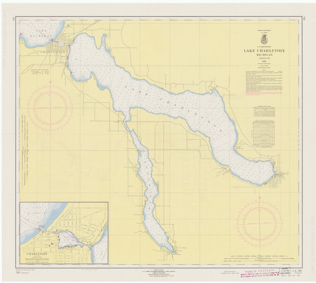 Lake Charlevoix Map - 1963