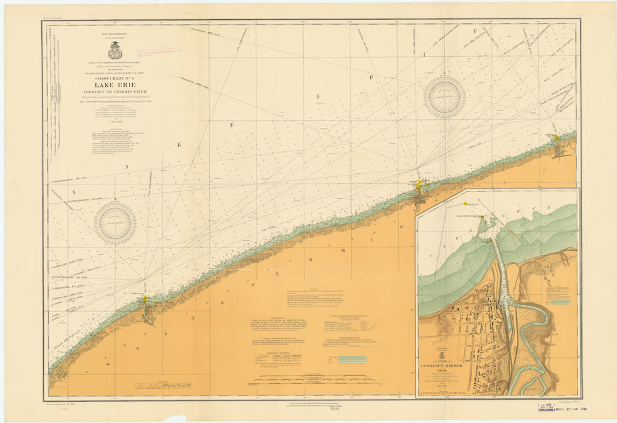 Lake Erie - Conneaut to Chagrin River Map - 1913