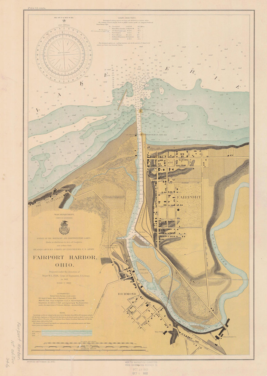 Lake Erie - Fairport Harbor Map - 1901