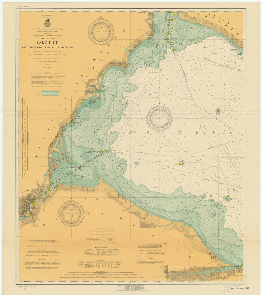 Lake Erie - Port Clinton to Toledo and Detroit River Map - 1918