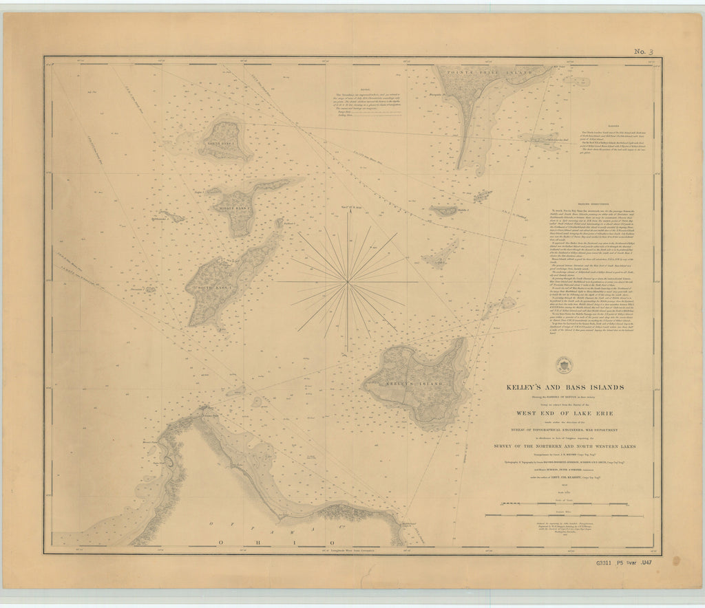 Lake Erie Islands & Sandusky Bay Historical Map - 1852
