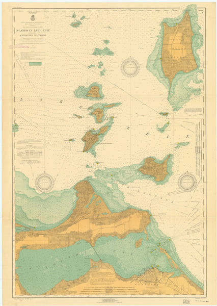"Lake Erie Islands Map (Sandusky Islands) Notecards (1917) 4.25""x5.5"""