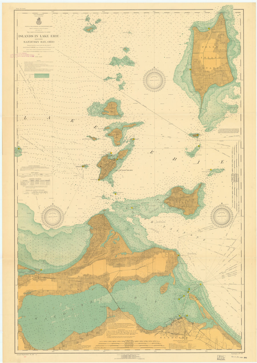 Lake Erie Islands & Sandusky Bay Map - 1917