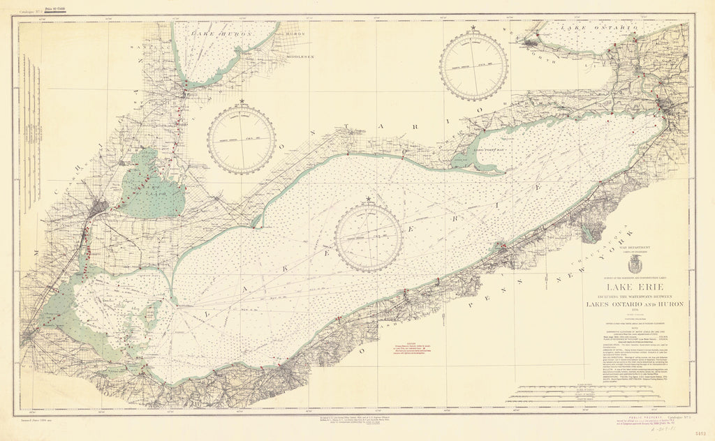 Lake Erie Historical Map - 1934
