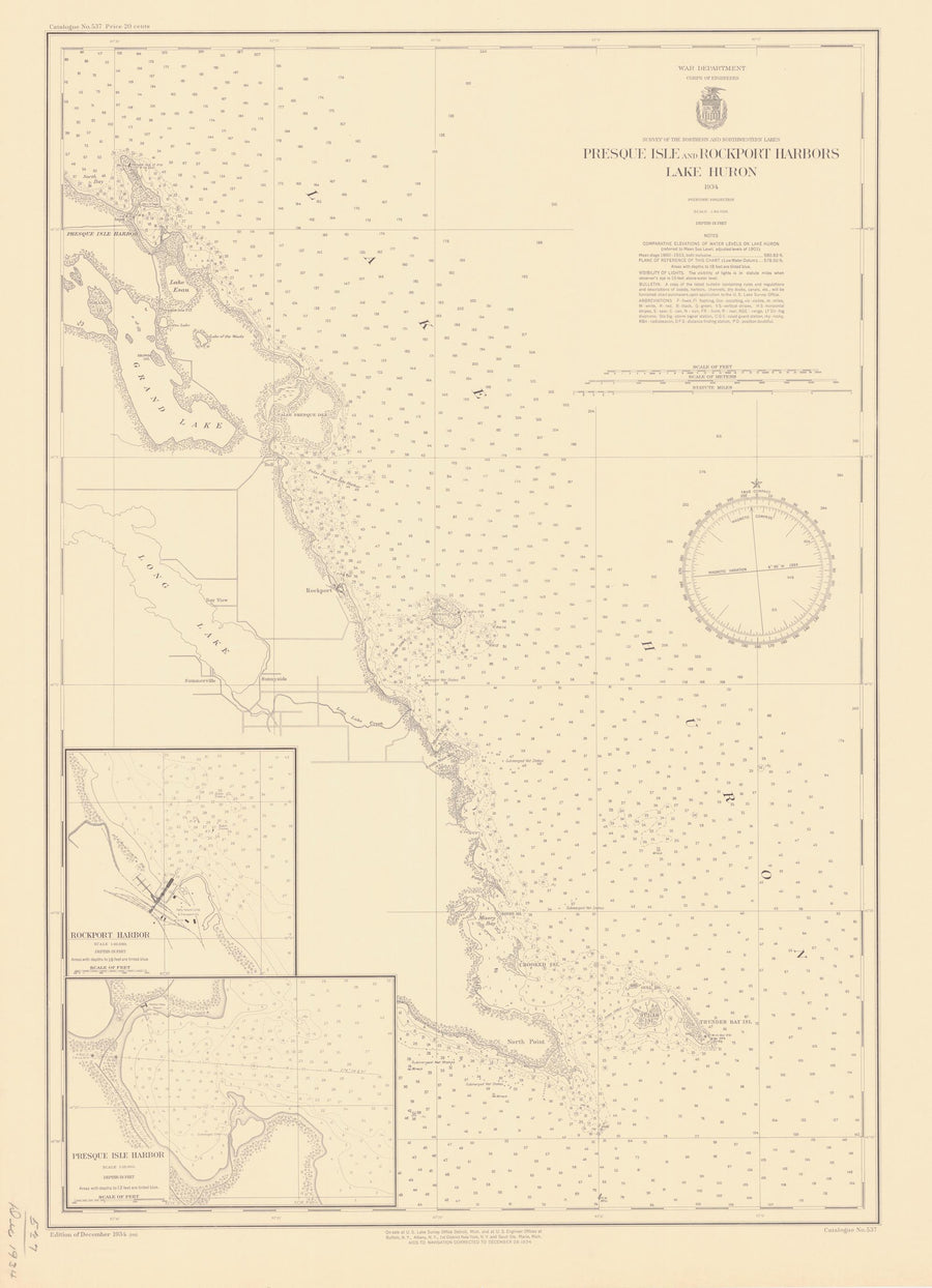 Lake Huron - Presque Isle and Rockport Harbors Map - 1934