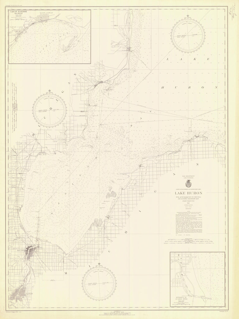 Lake Huron - Pointe Aux Barques to Oscoda & Saginaw Bay - 1942