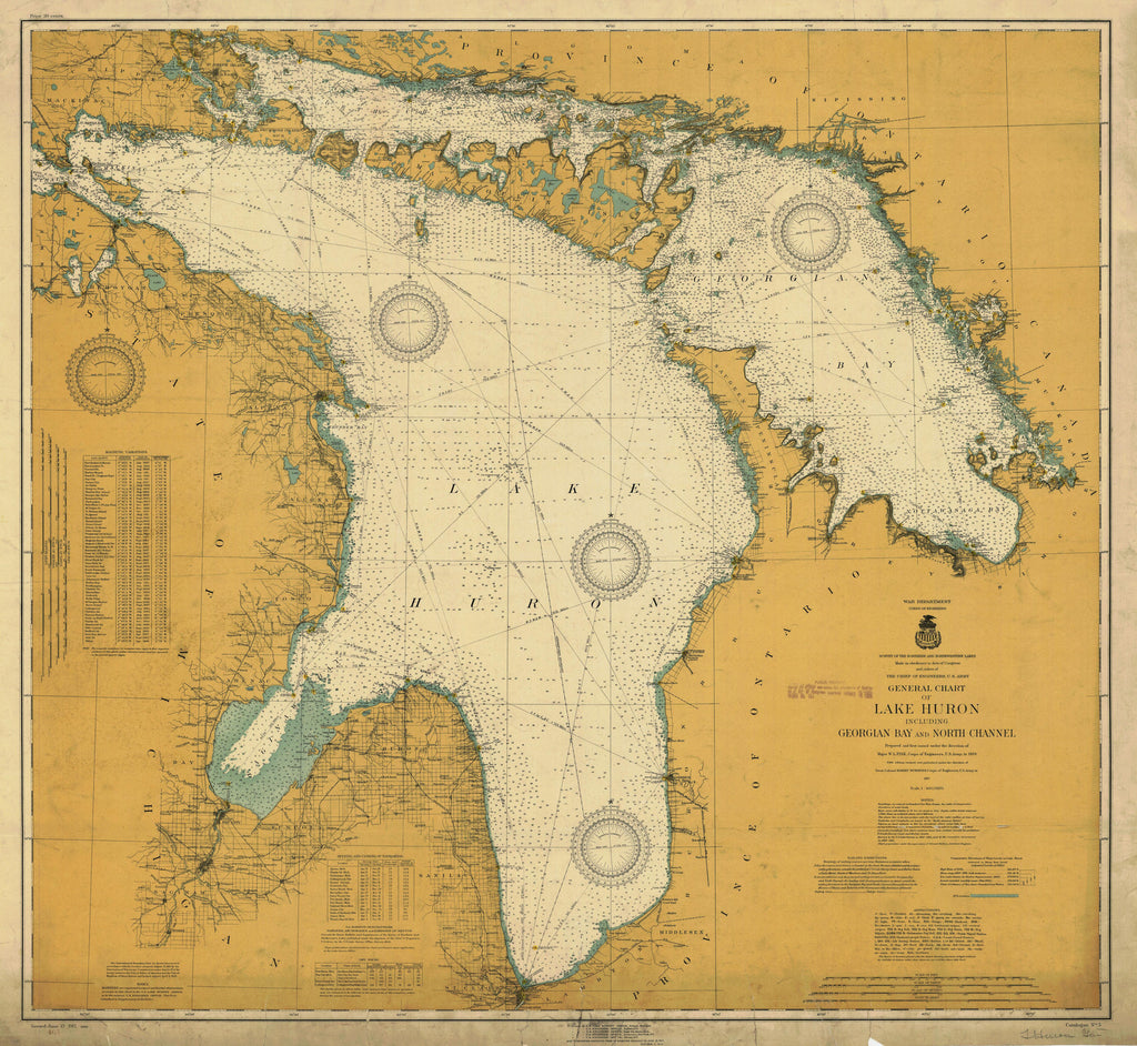 Lake Huron Historical Map - 1917