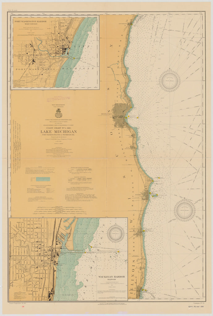 Lake Michigan - Port Washington to Waukegan Historical Map - 1914