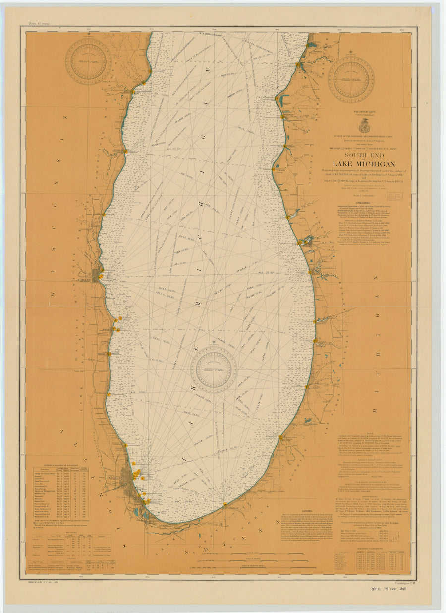 Lake Michigan - South End Map - 1905