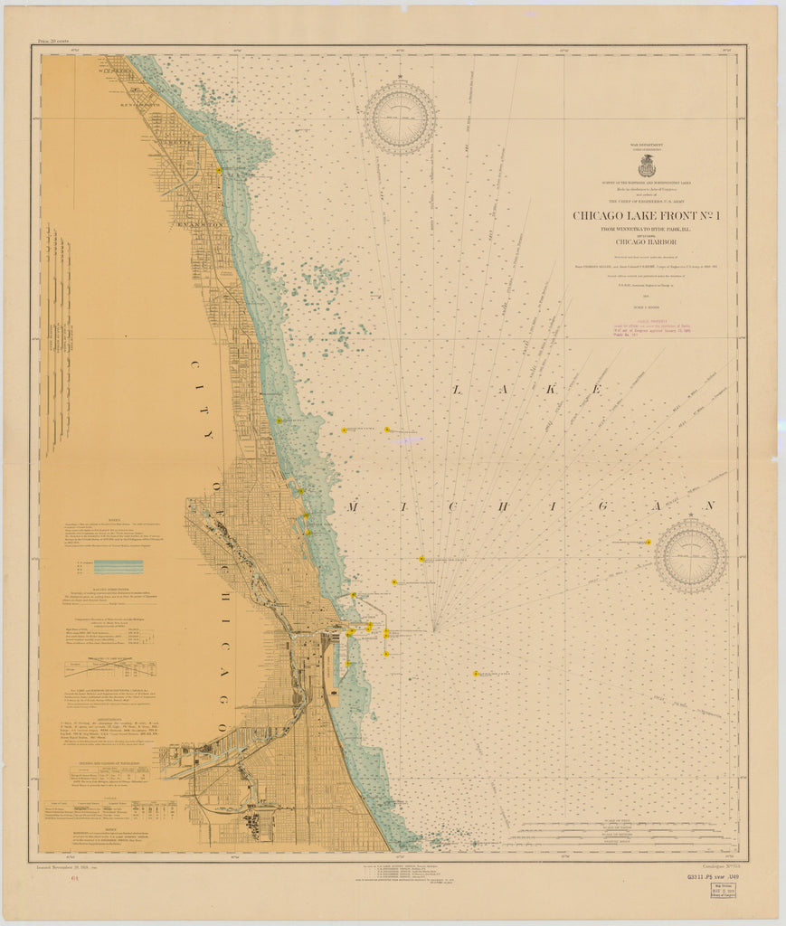 Lake Michigan - Chicago Harbor - Historical Map - 1918