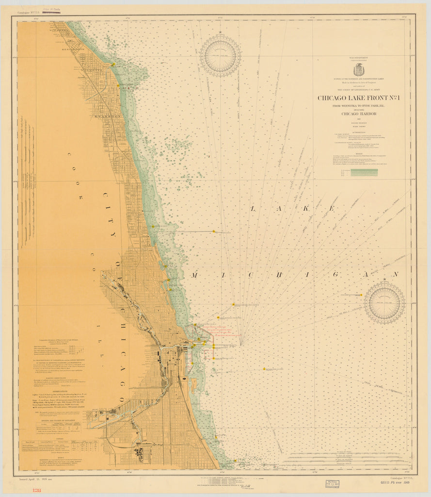Lake Michigan - Chicago Harbor - Historical Map - 1926