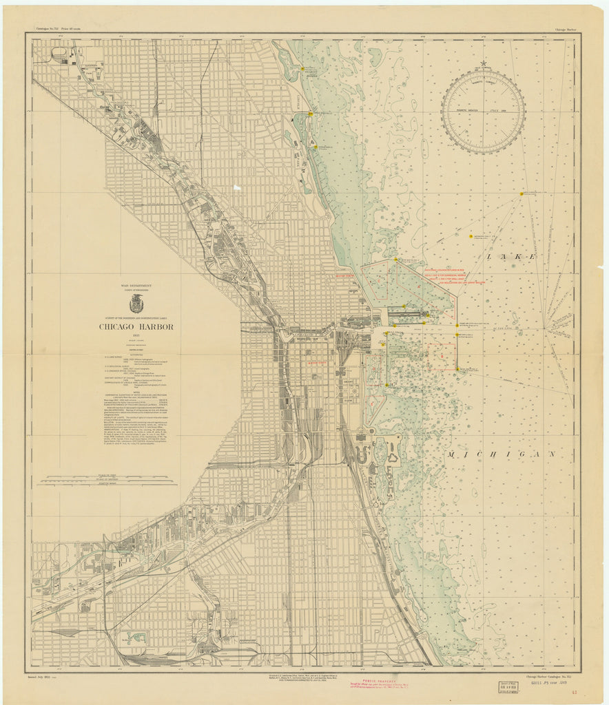 Lake Michigan - Chicago Harbor - Historical Map - 1933