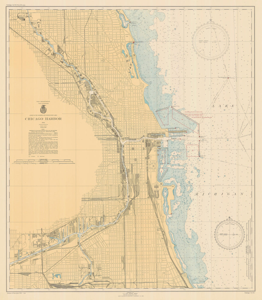 Lake Michigan - Chicago Harbor - Historical Map - 1944