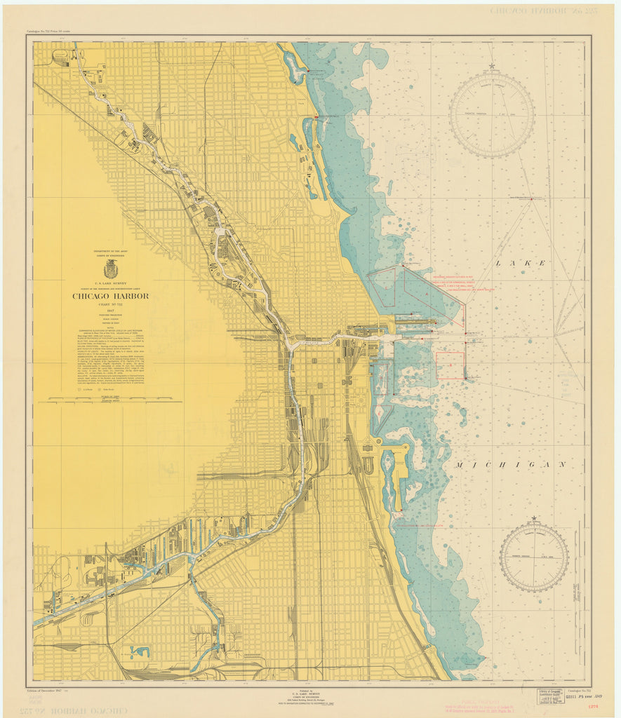 Lake Michigan - Chicago Harbor - Historical Map - 1950