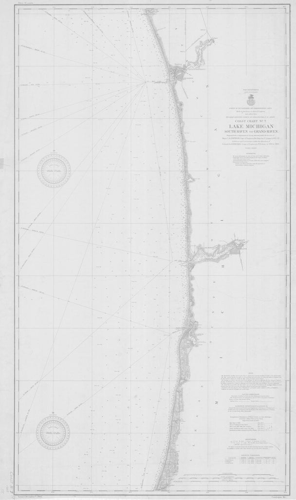 Lake Michigan - Eastern Shore - South Haven to Grand Haven Map - 1905