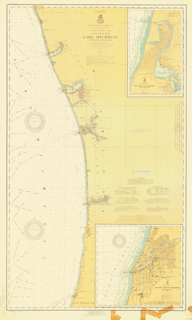 Lake Michigan - Eastern Shore Historical Map 1919