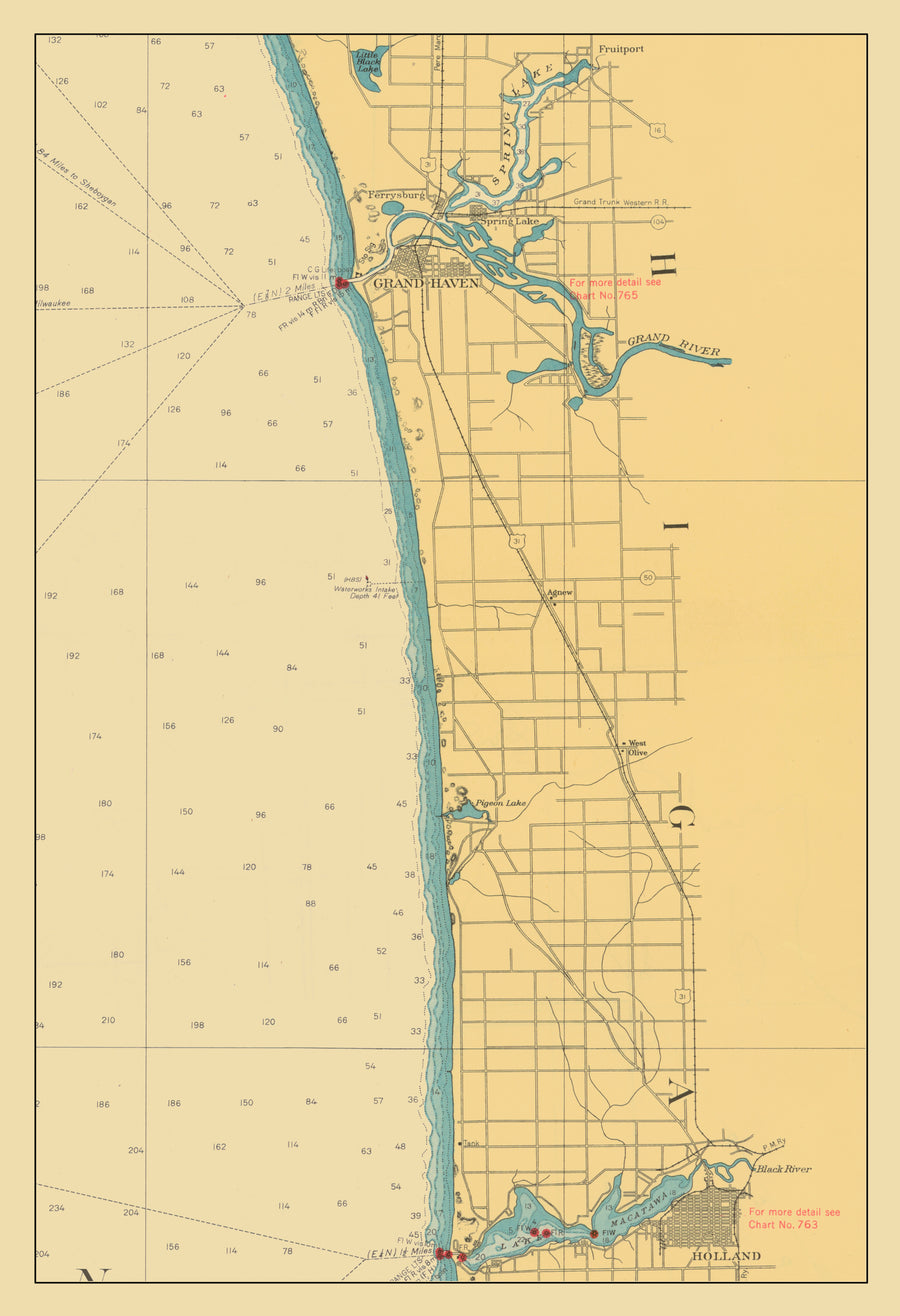 Lake Michigan Map - Grand Haven to Lake Macatawa 1947