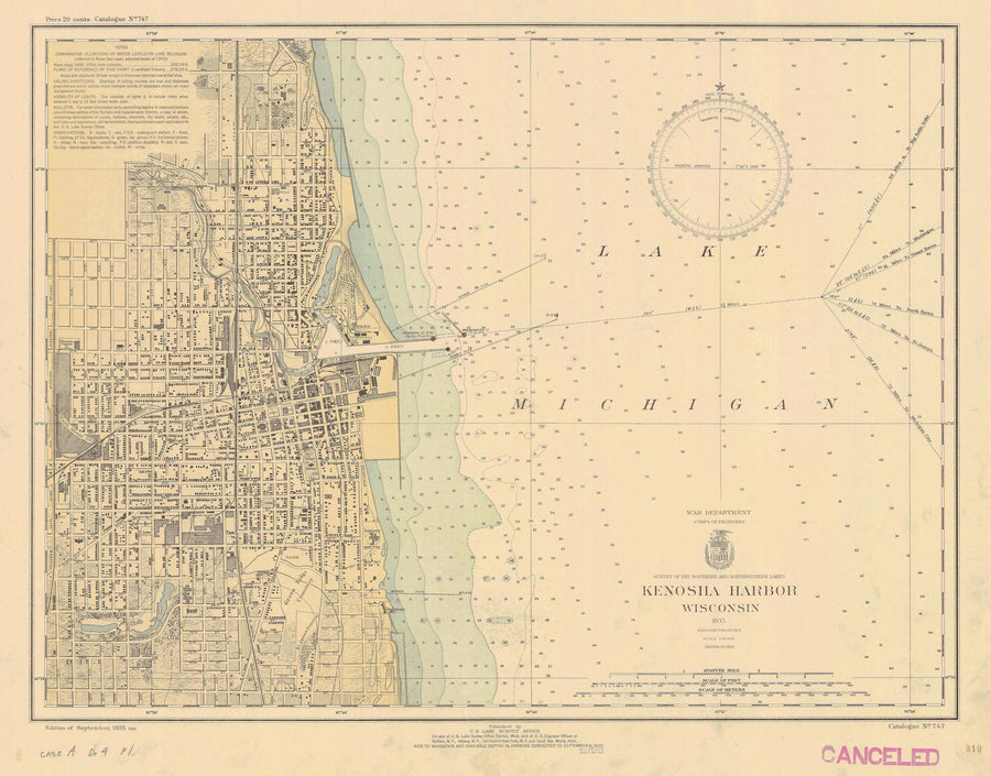 Lake Michigan - Kenosha Harbor Map - 1935