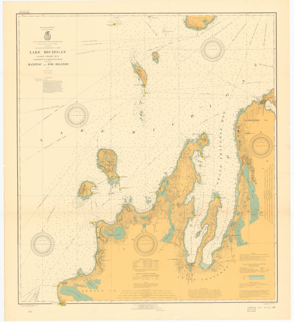 Lake Michigan Map - Manitou and Fox Islands - 1926