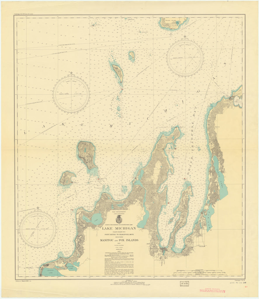 Lake Michigan - Manitou and Fox Islands Historical Map - 1935