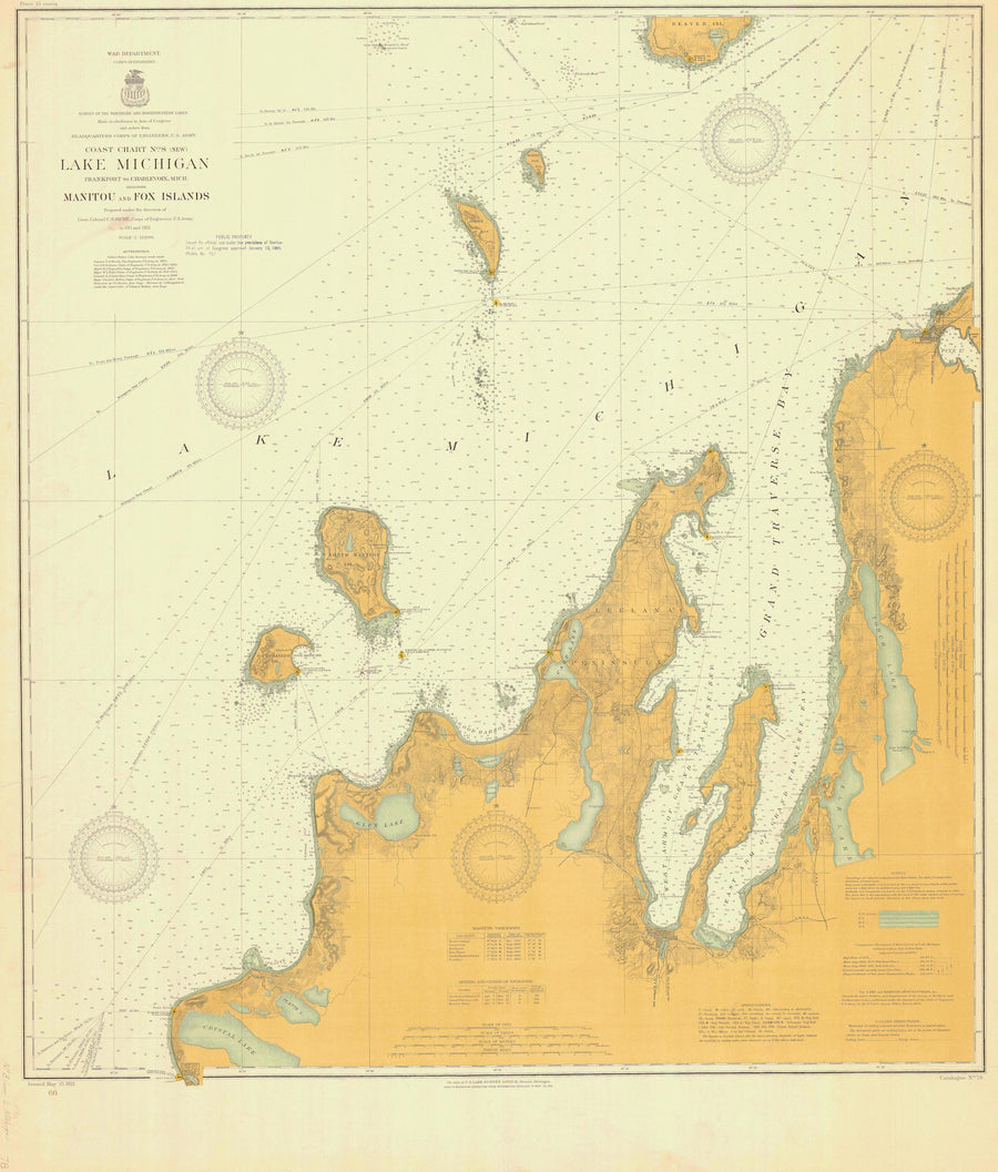 Lake Michigan - Manitou and Fox Islands Historical Map - 1912