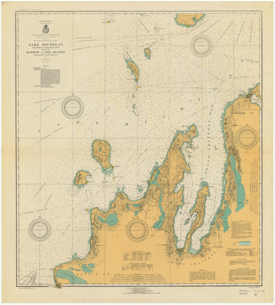Lake Michigan - Manitou and Fox Islands Historical Map - 1927