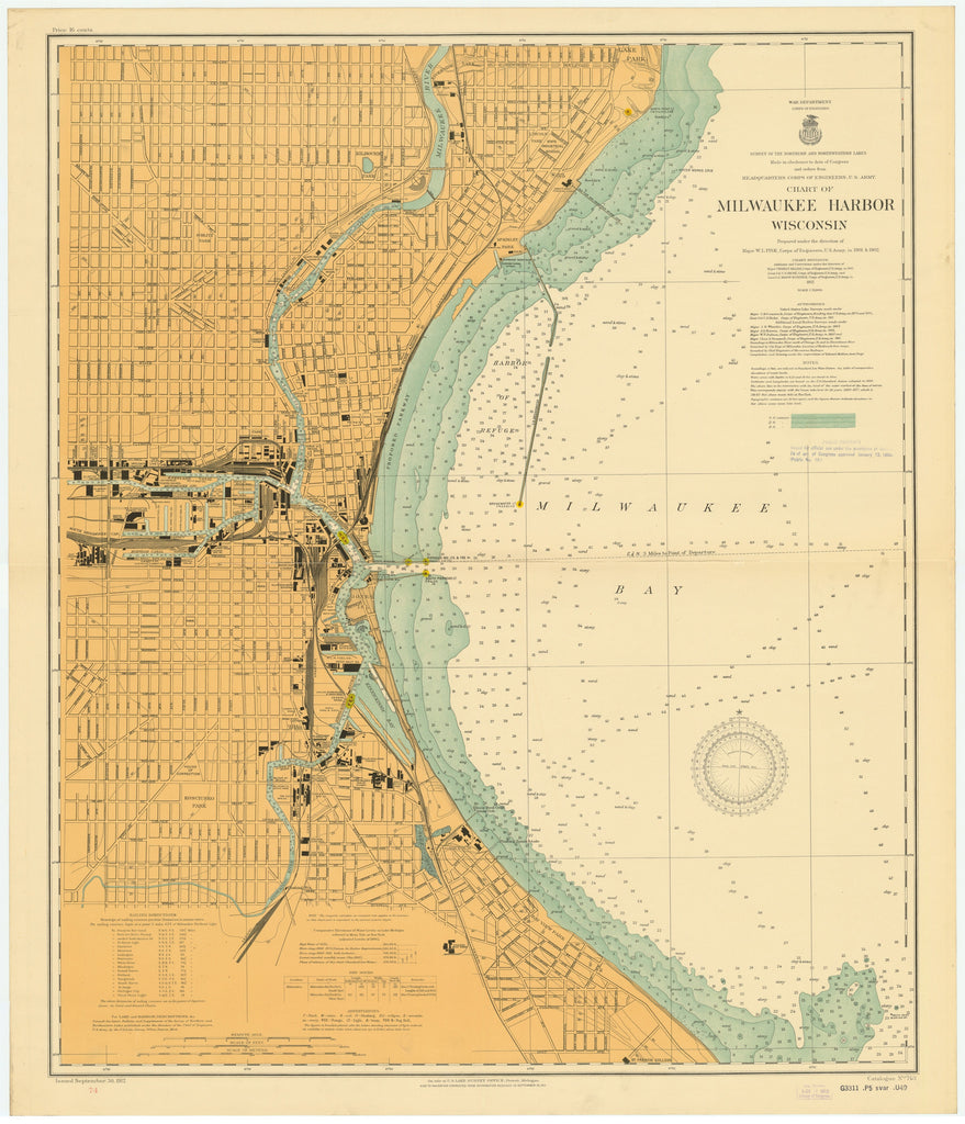 Lake Michigan - Milwaukee Harbor Historical Map - 1912