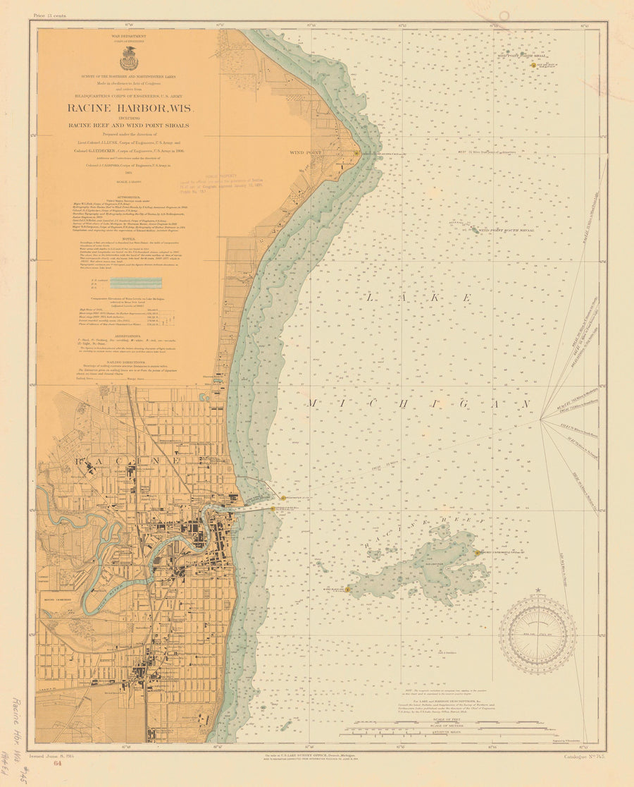 Lake Michigan - Racine Harbor Historical Map - 1914