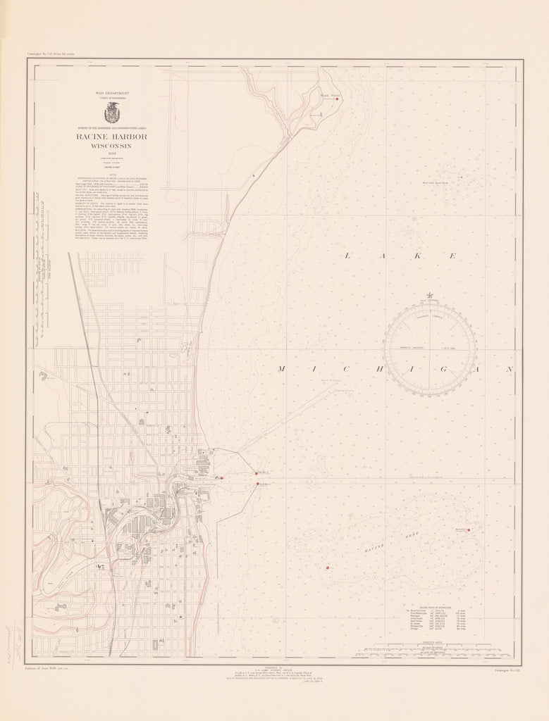Lake Michigan - Racine Harbor Historical Map - 1939
