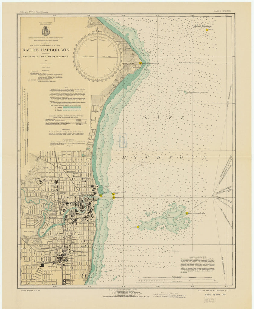 Lake Michigan - Racine Harbor Historical Map - 1931