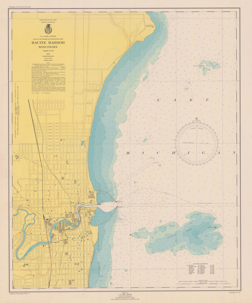 Lake Michigan - Racine Harbor Historical Map - 1947