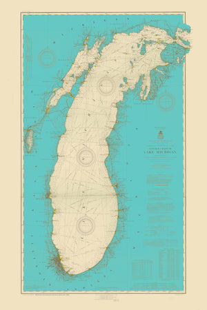 Lake Michigan Map (Turquoise) - 1915