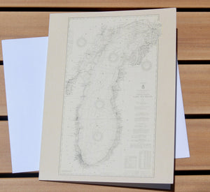 "Lake Michigan Map Notecards (1927) 4.25""x5.5"""