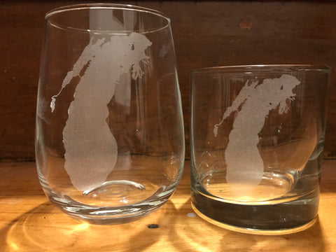 Lake Michigan Map - Engraved Rock, Stemless Wine & Pint Glasses