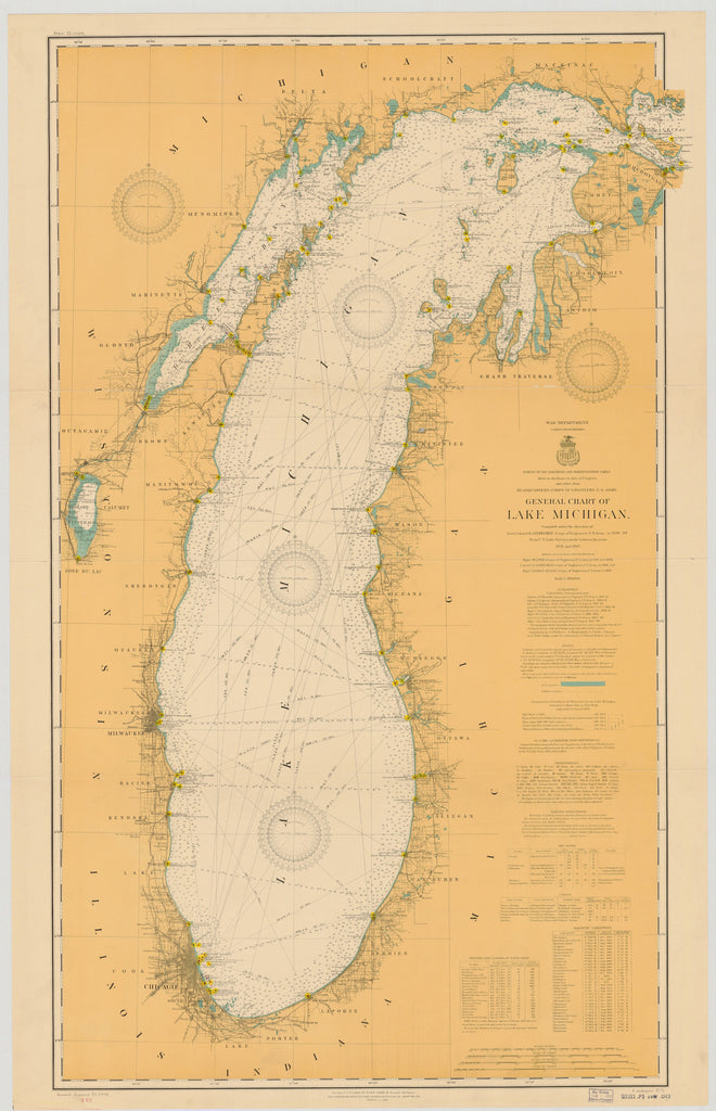 Lake Michigan Historical Map - 1909