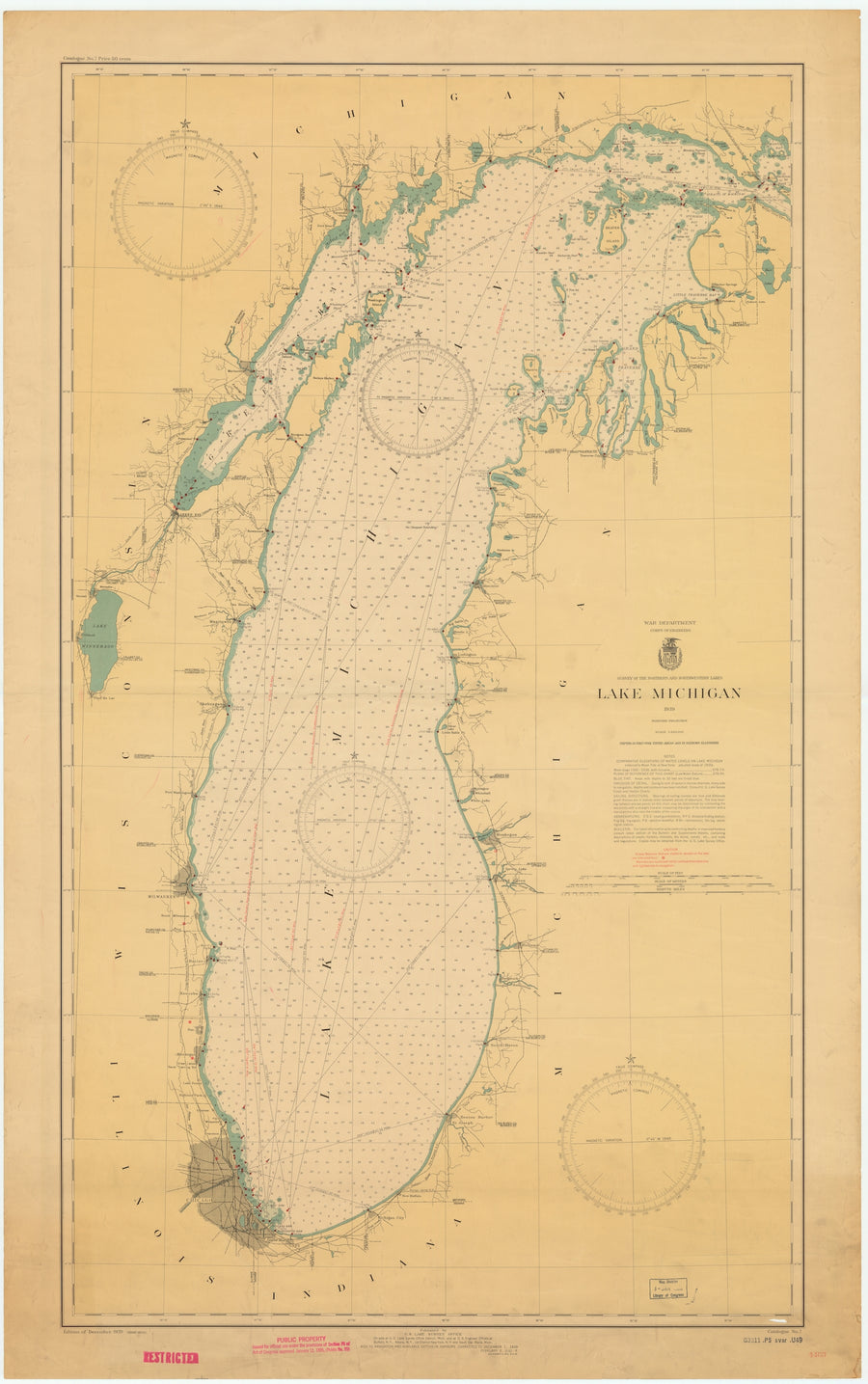 Lake Michigan Map - 1942
