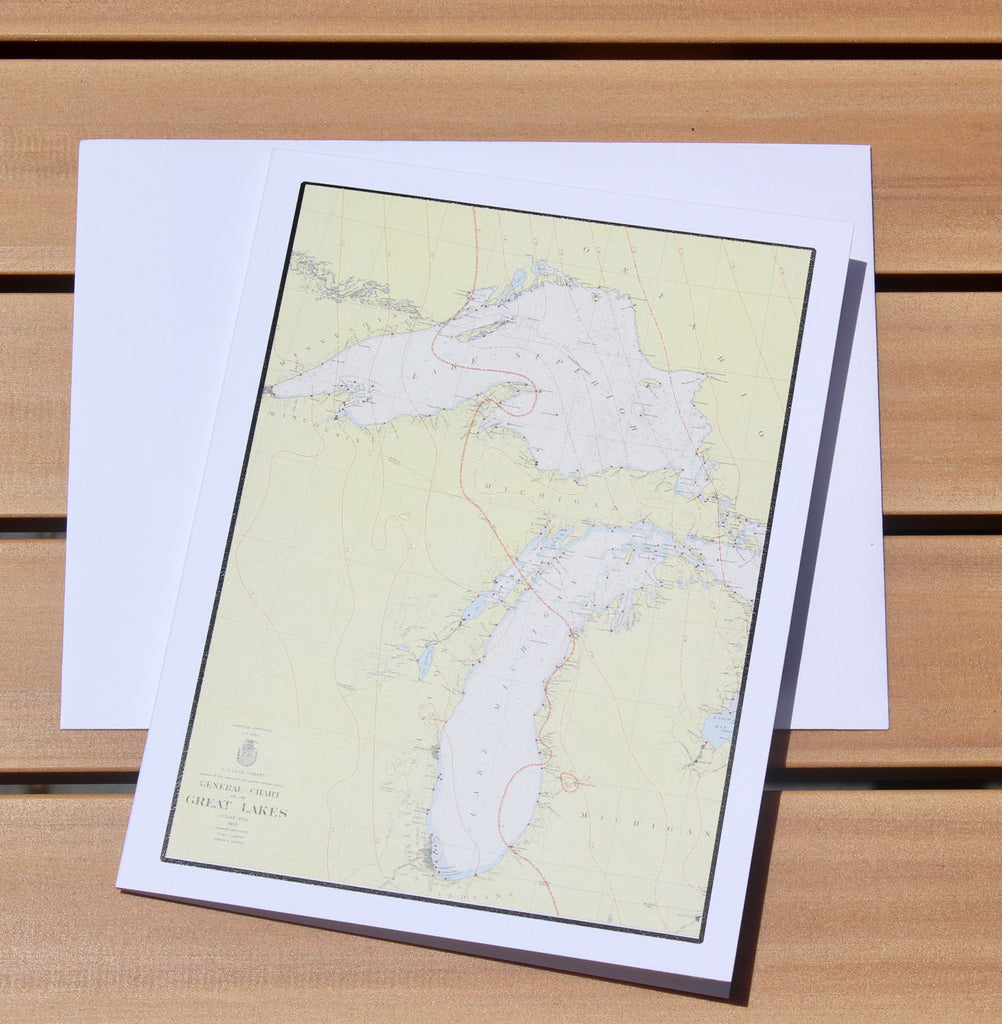 "Lake Michigan & Lake Superior Map Notecards (1955) 4.25""x5.5"""
