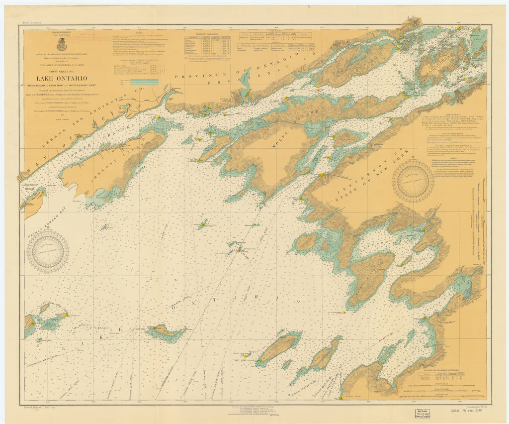 Lake Ontario - East End Historical Map - 1917