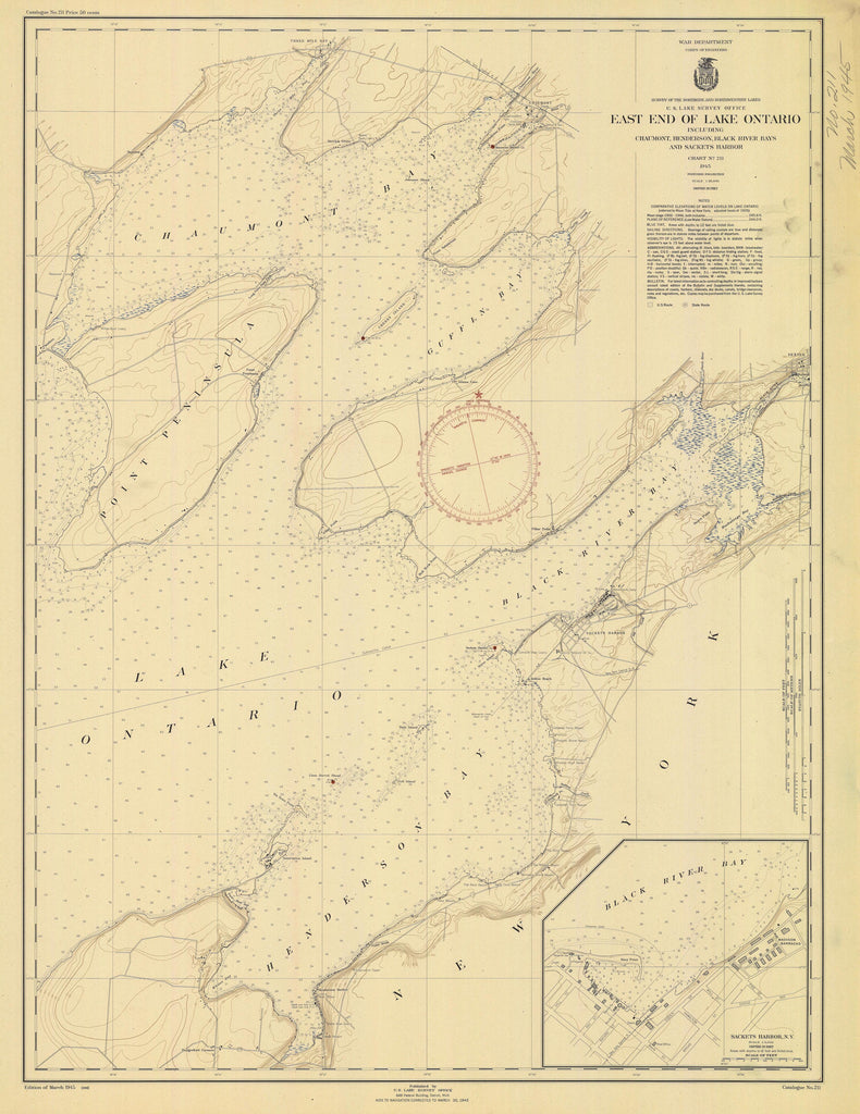 Lake Ontario - East End Historical Map - 1945