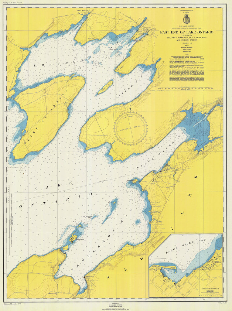 Lake Ontario - East End Historical Map - 1949