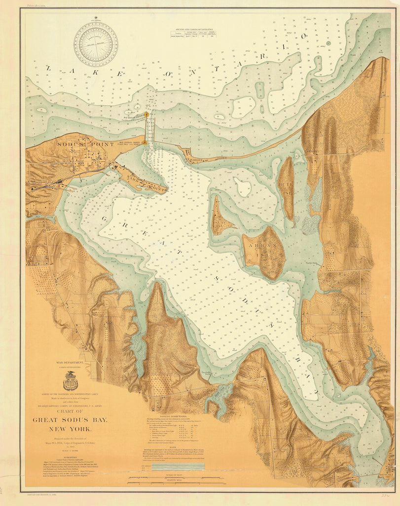 Lake Ontario - Great Sodus Bay Historical Map - 1902