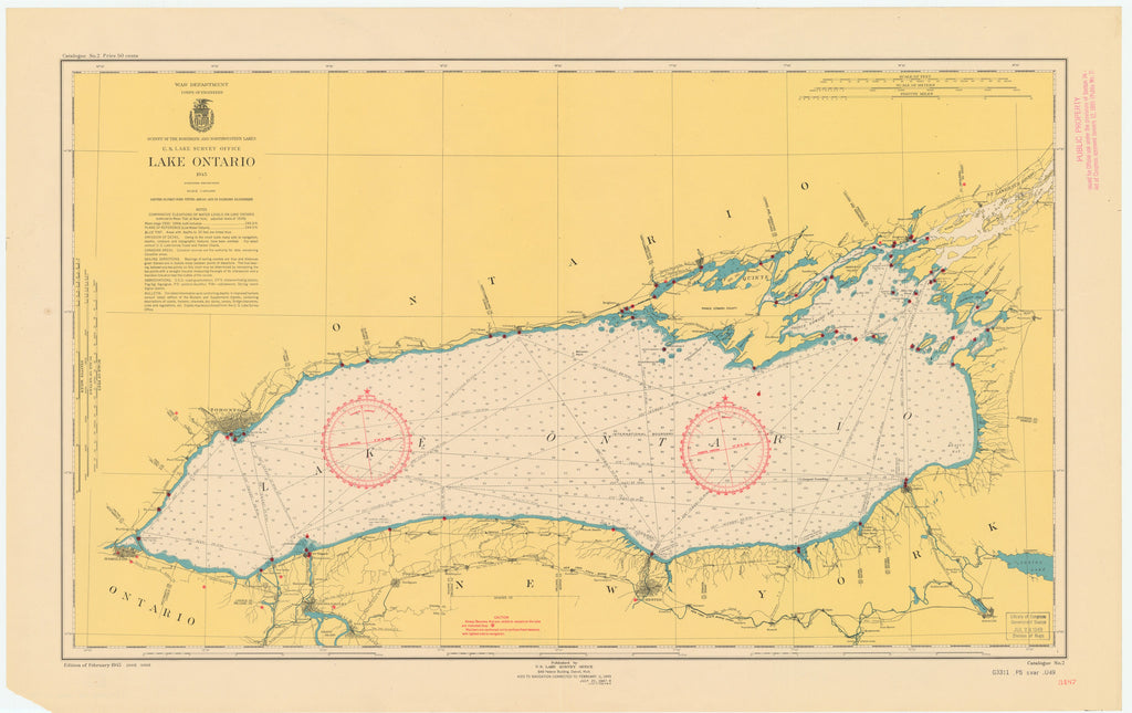 Lake Ontario Map - 1948