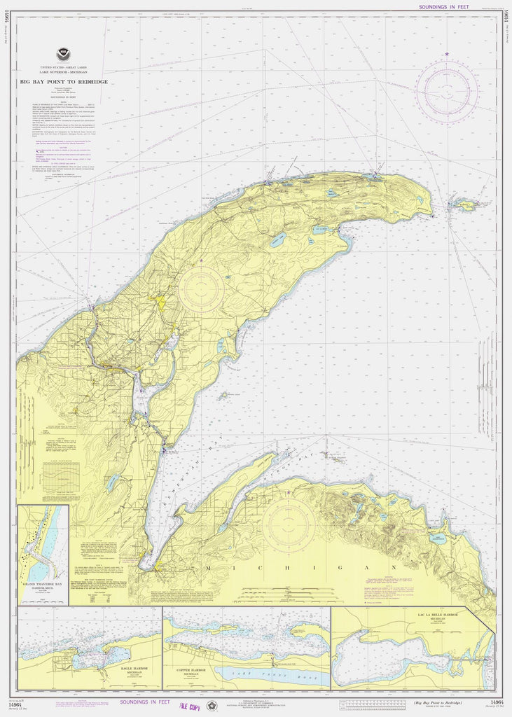 Lake Superior - Big Bay Point to Redridge Map - 1976