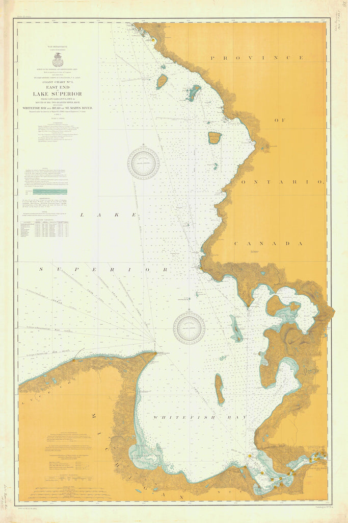 Lake Superior - East End - Whitefish Bay Historical Map - 1904