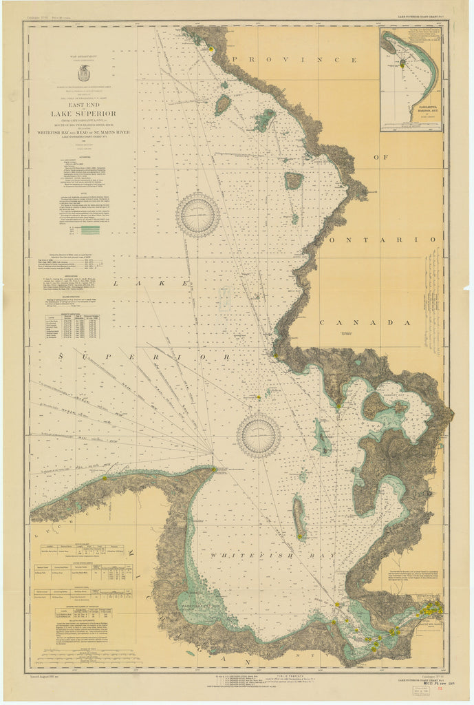 Lake Superior East End Historical Map - 1931