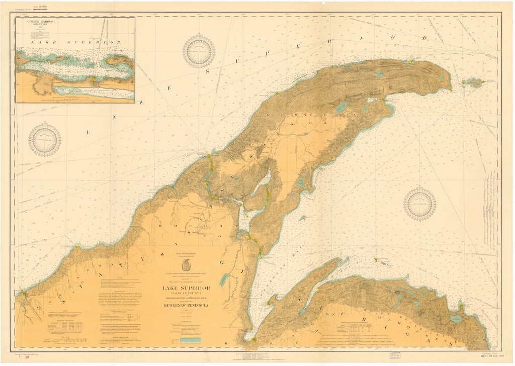 Lake Superior - Keweenaw Peninsula to Big Bay Sound Map - 1926
