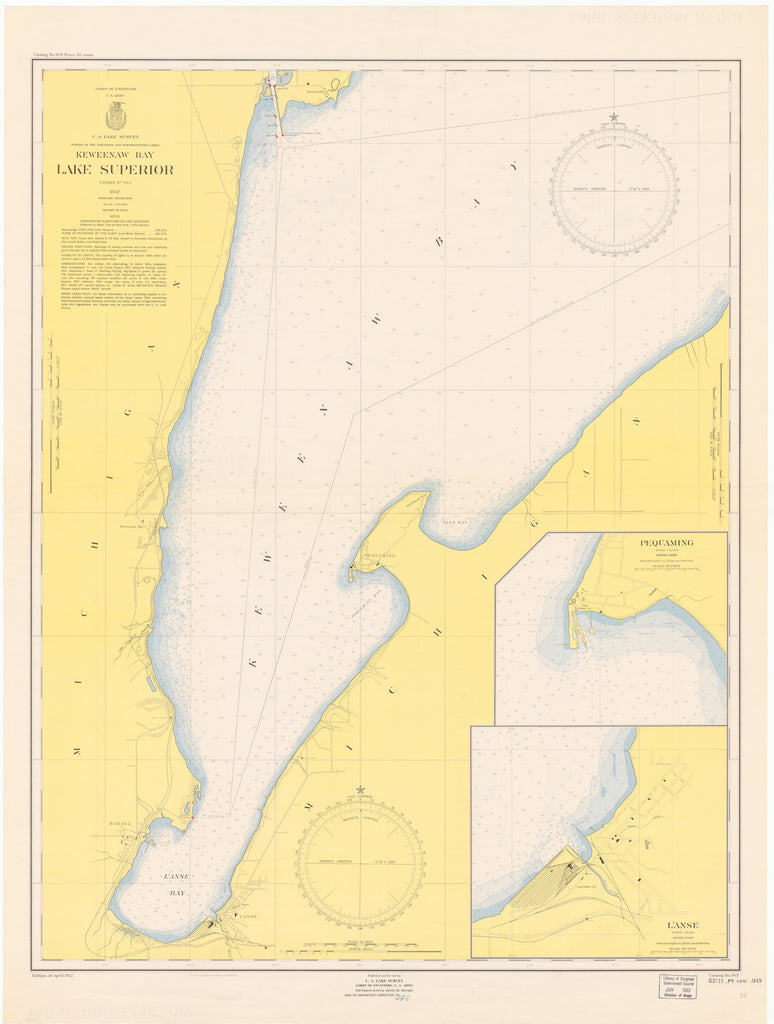 Lake Superior - Keweenaw Bay - Historical Map 1952