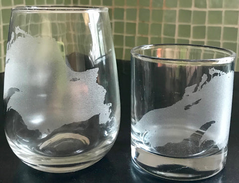 Lake Superior Map - Engraved Rocks & Stemless Wine Glasses
